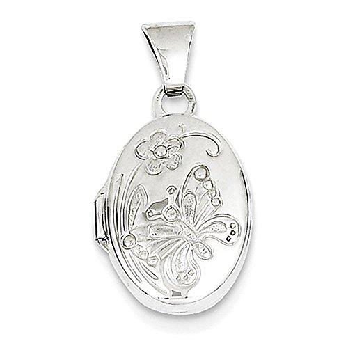 Oro bianco 14k lucido farfalla medaglione ovale
