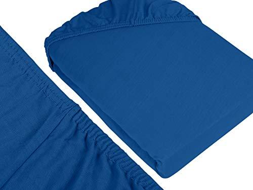 npluseins klassisches Jersey Spannbetttuch - erhältlich in 34 modernen Farben und 6 verschiedenen Größen - 100% Baumwolle, 90-100 x 200 cm, royalblau - 3