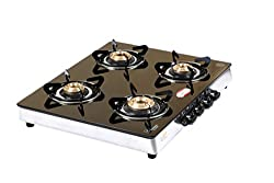 BrightFlame 4 Burner Black Glass Top Gas Stove
