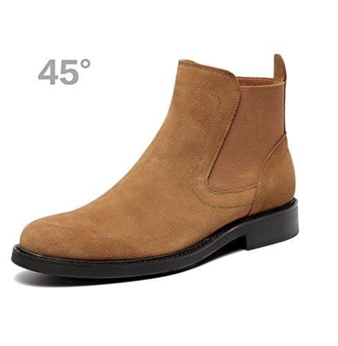 Heart&M pelle scamosciata di maschile casual in vera pelle smerigliato scarpe lavoro che Martin stivali yellow brown