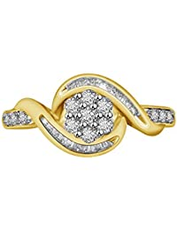 PARSHVA DIAM 1.00 CT 14K Yellow Gold Over 925 Sterling Silver Round & Baguette Cut Cubic Zirconia Wedding Ring...