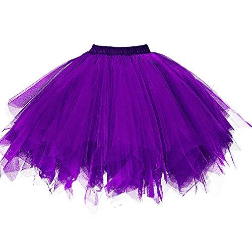 DresseverBrand Damen Petticoat 50er Rockabilly Jahre Retro Tutu Ballet Tüllrock Cosplay Crinoline Purple ()