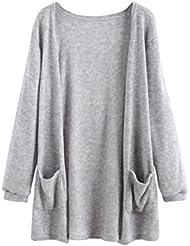 FEITONG Mujeres Otoño manga larga Tops Blusa La chaqueta larga floja de la capa de la rebeca Outwear