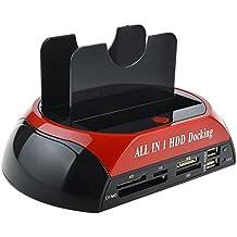 WANLONGXIN WLX-875J USB2.0 a SATA IDE Dual Bahía Externo Estación de Acoplamiento Del Disco Duro Con Lector de Tarjetas y Hub USB 2.0 (NinguÌ n Apoyo el Disco Duro de WD IED)