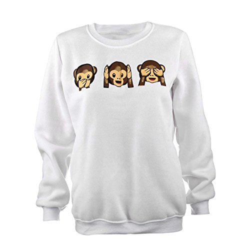 Jiayiqi Lustige Drei Affe Drucken Pullover Mädchen Schöne Pullover Sweatshirt Schlank Passen S (Affe Lustig Langarm)