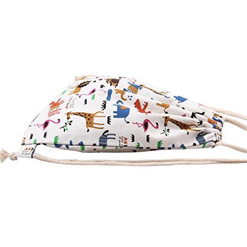 Imagen de laat  bolsa y  de tela de algodón unisex para niños o adolescentes, diseño con dibujos de animales alternativa