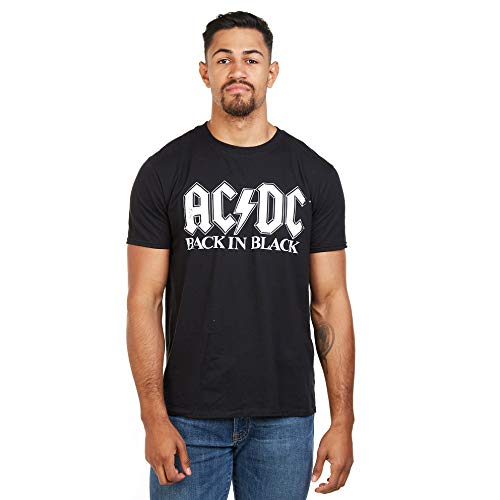 AC/DC Back In Black Camiseta, Negro ((, Large para Hombre