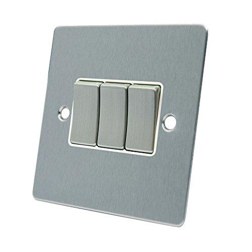 AET fsc3gswiws 10A Lichtschalter 3-fach 2-Wege-Satin Chrom flach Dreifach Lichtschalter mit weißem Einsatz Metall Schalter - Moderne Dreifach-schalter