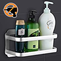 Wangel Strong Adhesive Storage Basket for Bathroom and Kitchen, Patented Glue + Self-Adhesive, Aluminum