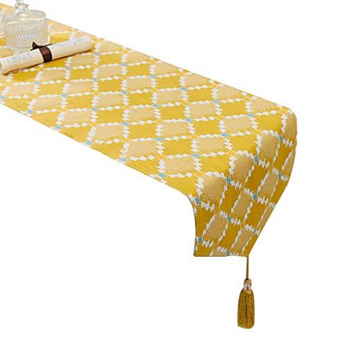 WYQ Tischläufer mit Quasten, Baumwollleinwand geometrisches Design Dekor ideal für Familienessen, Zusammenkünfte, Partys, täglicher Gebrauch 7 Größen verfügbar Table Runner