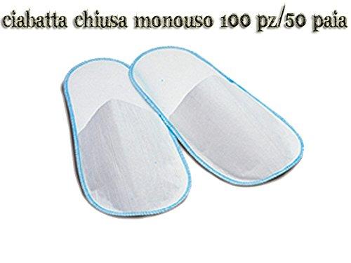 Ciabatta ciabattina monouso chiusa estetista bianca in tnt 100 pz / 50 paia ciabatte
