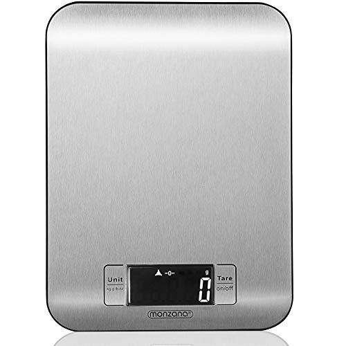 Monzana® - Digitale Edelstahl Küchenwaage | Haushaltswaage Digitale Waage Grammwaage Briefwaage Feinwaage Weiß Digitalwaage | LCD Display | Touch-Sensor | Tara Funktion | Edelstahl | bis zu 8kg