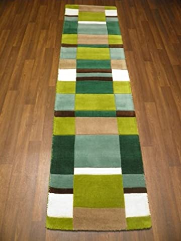 Indian Hand Tufted Textured 100% Wool Rug 60cm x 230cm Approx 8x2 Green Modern Design Top Quality