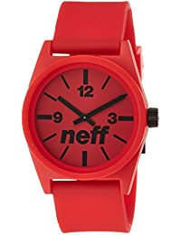 Neff NF0201RD - Reloj analógico de cuarzo unisex con correa de plástico, color rojo