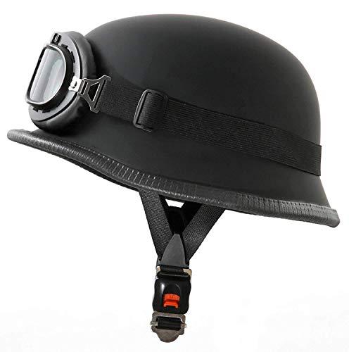 TKTKXGQ Casco per Moto in Stile Militare con Occhiali, Taglia M (57-58 cm)