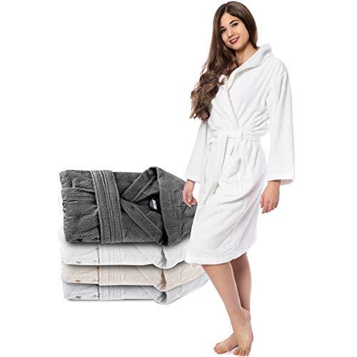 Twinzen Albornoz de Baño 100% Algodón con Capucha para Mujer XL, Blanco Alabastro Certificado Oeko...