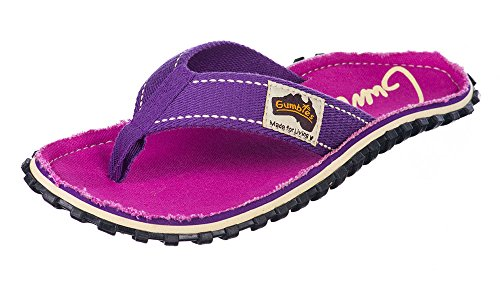 Gumbies Damen Zehentrenner - Rosa/Blau Schuhe in Übergrößen Purple Signed