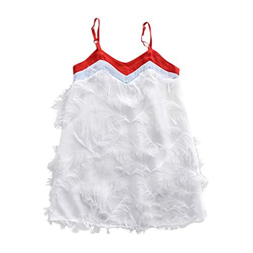 ellos Sling Midikleid Elegant Süß Quaste Flauschiges Volltonfarbe Kleid Von Villus Weste Strand Kleider Hochzeit Party Sommer Kleiden Kleinkind Kinder ()