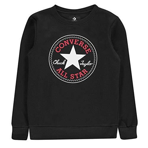Converse Alle Star Rundhals Sweatshirt Junior Skate Bekleidung Pullover Pullover Top - Schwarz, 12-13 Jahre -