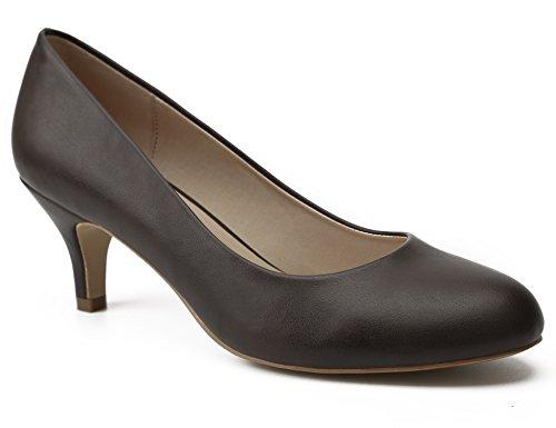 MaxMuxun Zapatos de Tacón de Aguja Diseño Elegante Clásico para Fiesta Café sin Tira...