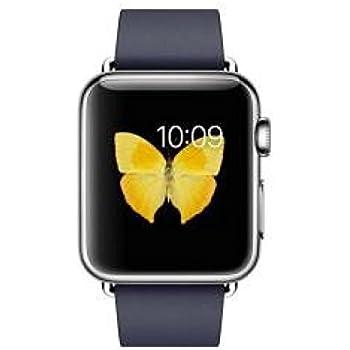 """Apple Watch 38 mm (1ª Generación) - Smartwatch iOS con caja de acero inoxidable en plata (pantalla 1.32"""", Apple S1 a 520 MHz, 8 GB, 512 MB RAM), correa azul con hebilla moderna (talla L)"""