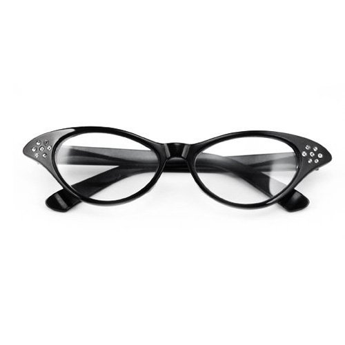 SODIAL(Wz.) 50er 60er Jahre Fett Katzenauge Glaeser Cateye Brille Strass fuer Fancy Dress - 2