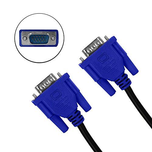Eaxus®️ 1,80 Meter VGA Kabel, Anschluss eines PCs/Notebooks am Monitor, TV oder Beamer. Monitorkabel/Bildschirmkabel mit doppelter Abschirmung und Schrauben. Bis Full HD 1920x1080 Pixel 15-polig