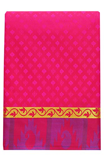 SARAVANABAVA SILKS Women's Silk Kanchipuram Saree (SRBS0321-E_Dark Pink_Free Size)