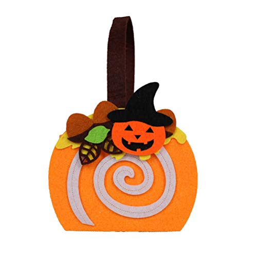 BESTOYARD Kürbis-Süßigkeitstaschen-Stoff-Handbewegliches DIY-Tasche für Kinder Orange