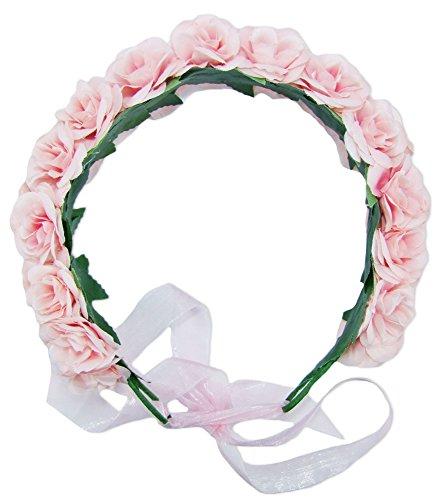 Trachtenland Blumenkranz zum binden mit zwei Reihen Rosen für Damen - Rosa