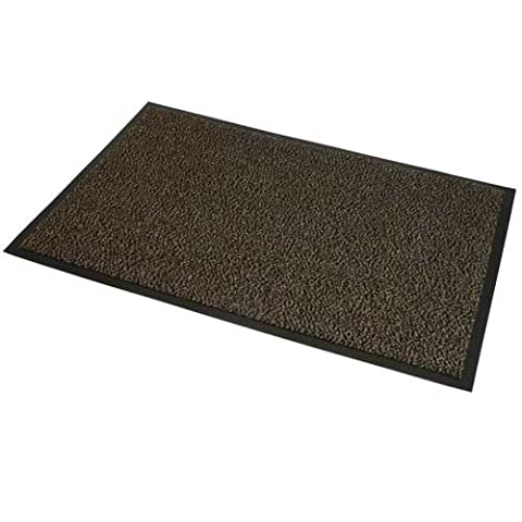 JVL Office Paillasson d'entrée absorbant Marron/noir 120 x 180 cm