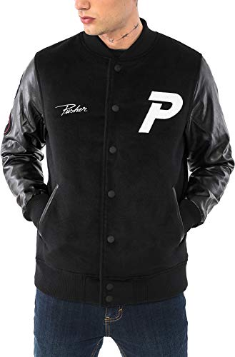 Pusher Apparel Herren Varsity Jacket Collegejacke, Black, L -