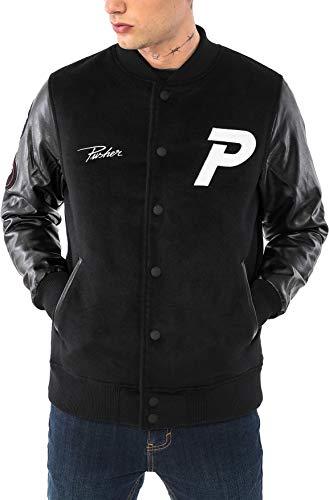 Pusher Apparel Herren Varsity Jacket Collegejacke, Black, L Varsity Jacke Patches