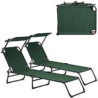 [casa.pro] Set de 2 tumbonas plegables 190cm verde oscuro con parasol hamaca de aluminio para playa, jardín y piscina