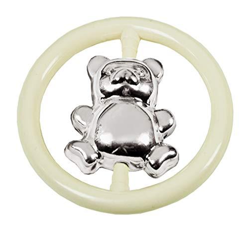 EDZARD Babyrassel Beißring Greifring Bär, edel versilbert, Durchmesser 8 cm