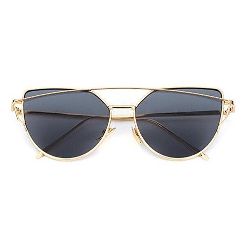L&K-II Classische Sonnenbrille Damen Metall Rahmen verspiegelte Linse Brille 5101-11