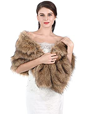Chal Aukmla de piel sintética, para bodas, para novia o dama de honor