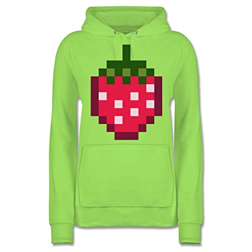 Shirtracer Karneval & Fasching - Pixel Erdbeere - Karneval Kostüm - XL - Limonengrün - JH001F - Damen Hoodie
