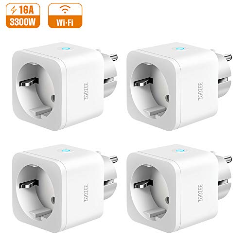 Presa Intelligente WiFi ZOOZEE 16A Smart Plug Mini Spina Compatibile con Amazon Alexa/Google Home/IFTTT, Spina con IOS Android App Controllo Remoto, Temporizzazione, Controllo Vocale 4PCS