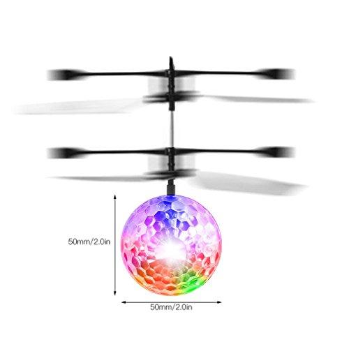 RC fliegender Ball mit LED Leuchtung Disco Musik Spielzeug RC Infrarot Induktionshubschrauber Ball für Kids - 8