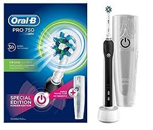 Oral-B Pro 750 Elektrische Zahnbürste, mit CrossAction Aufsteckbürste, Bonus Pack mit Reise-Etui, schwarz