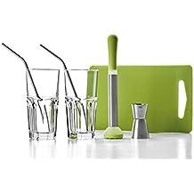 Ibili 798000Set 7Mojito Edelstahl/Kunststoff/Glas Silber/Transparent/Grün 26x 10x 18cm