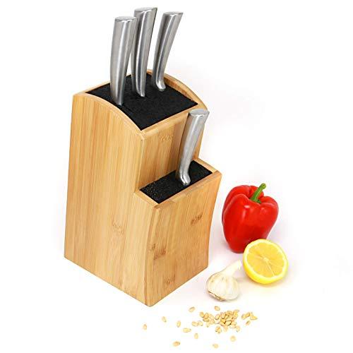 Bloque cuchillos   Cuchillos cocina ranurados bambú