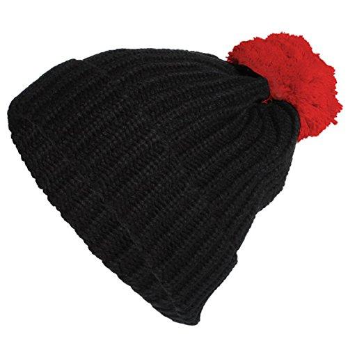 Chic-Net Bommel Wintermütze Bommelmütze Beanie Strickmütze Umschlag Unisex Einheitsgröße schwarz rot (Grüne Weihnachten Net Lichter)