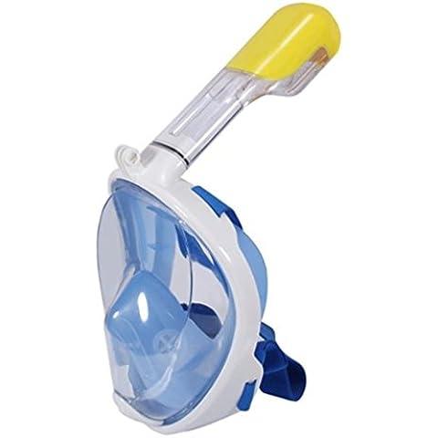 máscara del tubo respirador de cara completa de respiración para adultos y jóvenes. máscara de buceo seco completo revolucionaria con anti-vaho y anti-fugas Tecnología. Ver mejor con 180 ° área de visualización de máscaras tradicionales (azul, S/M)