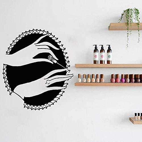 jiuyaomai Nail Stylist Wandtattoo Beauty Salon Dekor Nail Art Maniküre Vinyl Wandaufkleber Nägel Design Wandbild Beauty Hand braun 49x57cm
