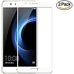 Copmob [2 pièces Huawei Honor 8 Verre trempé,[Couverture complète] [2.5D Arc Edge],Anti Rayures,sans Bulles d'air,Ultra Résistant Dureté 9H,Protecteur d'écran en pour Huawei Honor 8 -Blanc
