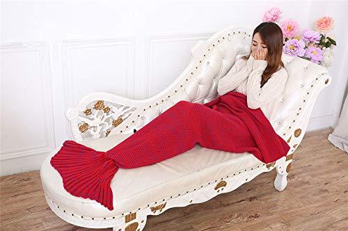 XILIUHU Garn gestrickt Mermaid Schwanz Decke weiche Home Sofa Schlafsack Wickeln Handarbeit Häkeln Portable werfen Drucktuch für den Herbst, Rot - Werfen Muster Decke Rot