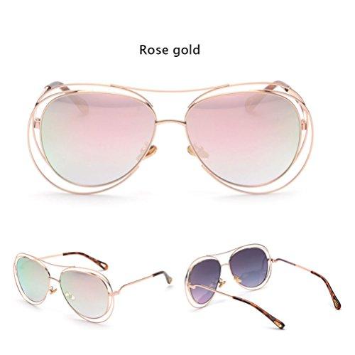 Z&HA Frauen übergroßen transparent weiß Flache Objektiv Runde Sonnenbrille Rainbow Hohl Farbverlauf Objektiv Höhe 62mm Metall Rahmen, Rosegold