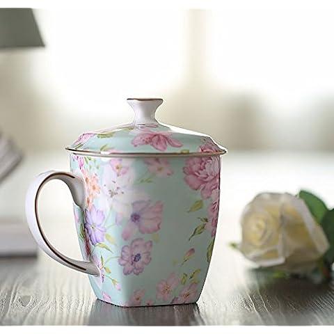 Continental creativo mug tazas de cerámica ósea tazón de agua mugs y elegante taza con tapa